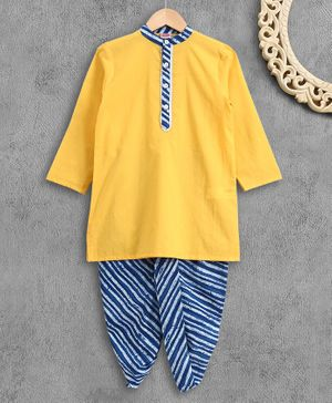 Babyhug Full Sleeves Kurta Dhoti Set - Yellow & Blue