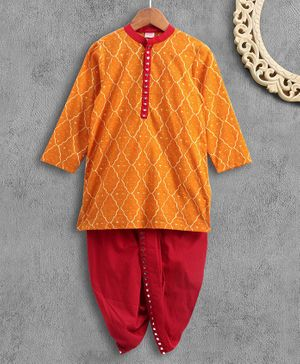 Babyhug Full Sleeve Kurta Dhoti Set - Orange Red