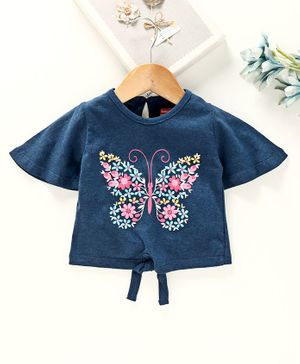 Babyhug Half Sleeves Tee Butterfly Print - Dark Blue