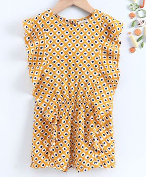 Ed-a-Mamma Short Sleeves Printed Rayon Jumpsuit With Ruffles - Yellow