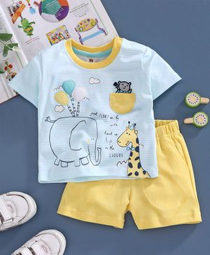 ToffyHouse Half Sleeves Stripe Tee & Shorts Animal Print - Blue Yellow