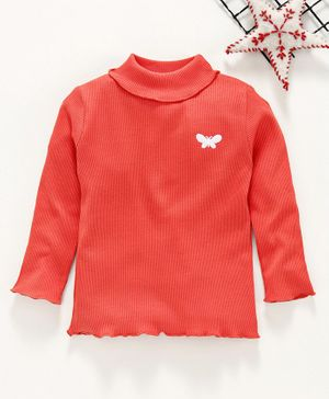 Babyhug Full Sleeves Cotton Lycra Rib Tee Butterfly Embroidery - Red