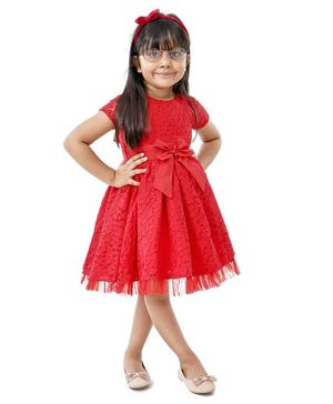 Babyhug Cap Sleeves Frock Bow Applique - Red
