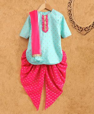 Saka Designs Three Fourth Sleeves Kurta & Printed Patiala Salwar with Dupatta - Blue Pink