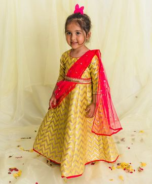 Saka Designs Full Sleeves Ethnic Dress with Dupatta -Golden Pink
