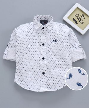Dapper Dudes Full Sleeves All Over Fish Printed Shirt - White