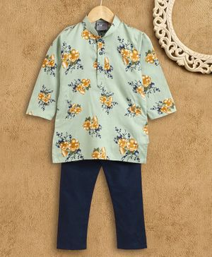 Dapper Dudes Full Sleeves Flower Printed Kurta With Pyjama Set - Pista