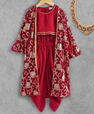 M'andy Full Sleeves Flower Foil Jacket With Inner Top & Dhoti - Red