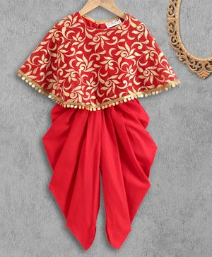 M'andy Foil Print Three Fourth Sleeves Cape & Dhoti - Red