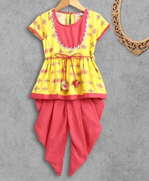 M'andy Half Sleeves Flower Print Kurti With Dhoti Set - Yellow