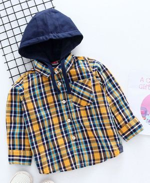 Babyhug Full Sleeves Hooded Checked Shirt - Yellow