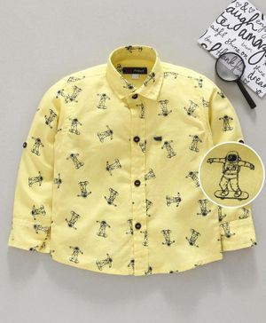 Attack Printed Full Sleeves Shirt - Yellow
