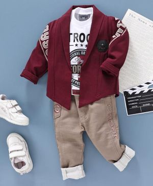 Dapper Dudes Full Sleeves Text Print Tee With Collared Jacket & Pants - Maroon