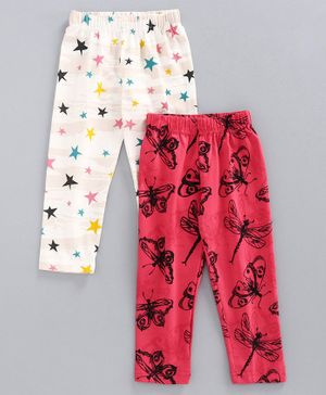 Doreme Full Length Printed Lounge Pant Pack of 2 - Pink White