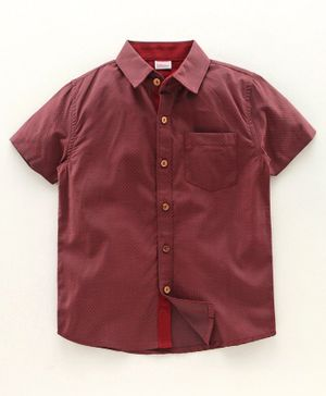 Babyhug Half Sleeves Party Wear Shirt - Red
