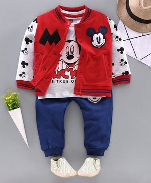 Babyhug Full Sleeves Tee with Lounge Pant & Jacket Mickey Mouse Print - Red Navy Blue