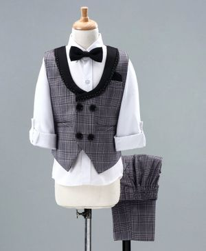 Babyhug 3 Piece Full Sleeves Check Party Suit With Bow - Grey White