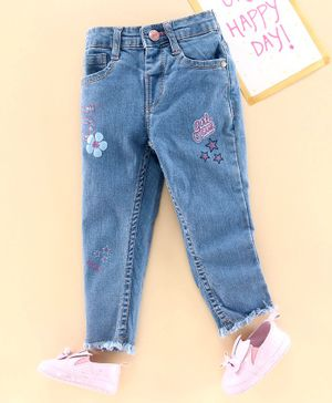 Babyhug Full Length Jeans Flower Embroidery - Light Blue