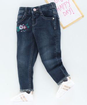 Babyhug Full Length Jeans Floral Embroidery - Blue