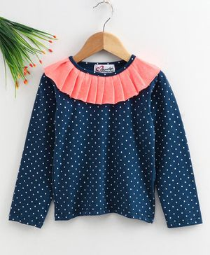M'andy Full Sleeves Polka Dot Print Top  - Blue