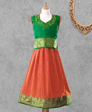 Bhartiya Paridhan Jacquard Design Lehenga Choli Set With Silk Border - Orange Green