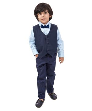 Babyhug Full Sleeves 3 Piece Party Suit with Bow - Blue