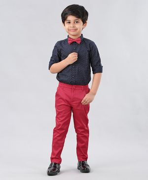 Babyhug Full Sleeves Dotted  Party Wear Shirt & Trouser - Navy Blue Red