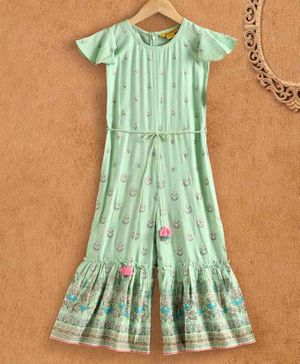 Global Desi Girl Cap Sleeves Floral Print Jumpsuit - Light Green