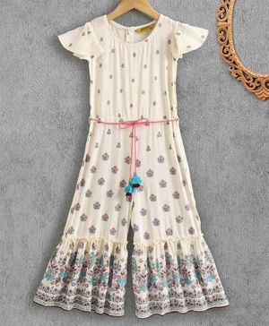 Global Desi Girl Cap Sleeves Flower Print Flared Jumpsuit - Cream