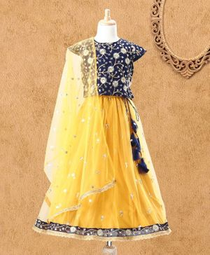 Babyhug Cap Sleeves Floral Embroidered Choli Lehenga & Dupatta - Navy & Yellow