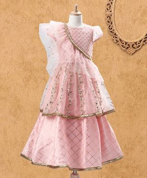 Babyhug Puff Sleeves Embroidered Choli Checks Lehenga & Ruffle Dupatta - Light Pink