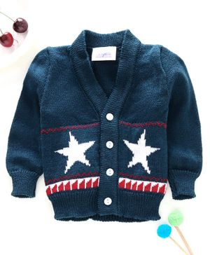 Little Angels Full Sleeves Sweater Star Design - Navy Blue