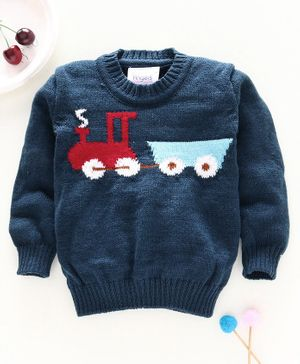 Little Angels Full Sleeves Sweater Train Design - Navy Blue