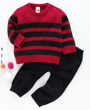 Babyhug Full Sleeves Striped Sweater & Pajama - Red
