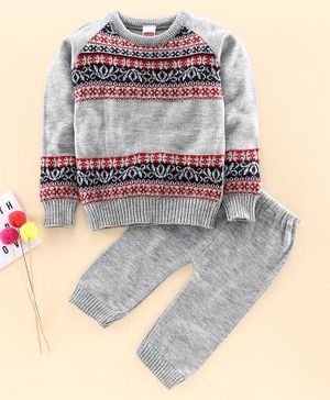 Babyhug Full Sleeves Sweater & Lounge Pant  - Grey