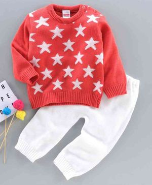 Babyhug Full Sleeves Sweater Set Star Design - Orange
