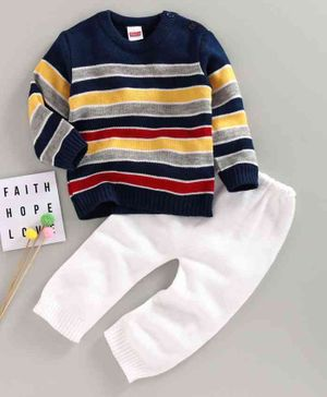 Babyhug Full Sleeves Striped  Sweater & Bottoms - Multicolor