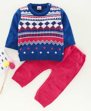 Babyhug Full Sleeves Sweater Set - Blue