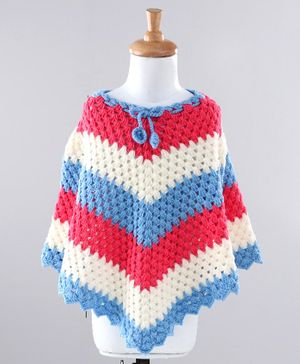 Babyhug Striped Woolen Poncho - Blue Red