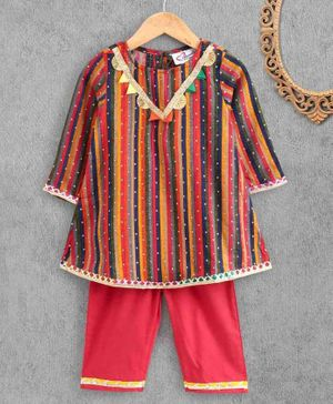 M'Andy Full Sleeves Striped Kurta & Palazzo Set - Multi Colour