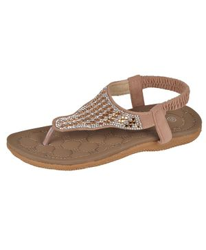 Yellow Bee Beads Embellished Holster Sandals - Brown
