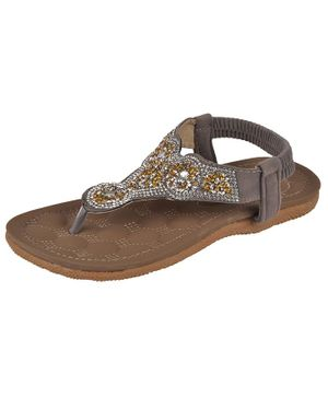 Yellow Bee Beads Embellished Thong Sandals - Grey
