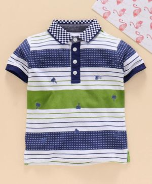 Under Fourteen Only Half Sleeves Striped Polo Tee - Green