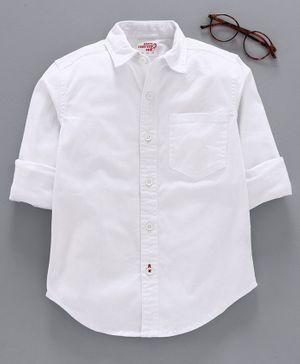 Under Fourteen Only Full Sleeves Solid Colour Shirt - White