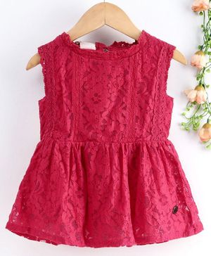 Under Fourteen Only Sleeveless Flower Lace Embroidery Work Top - Pink