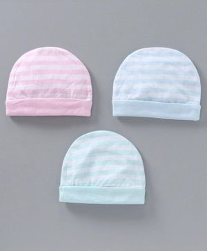 Simply Striped Cotton Cap Pack of 3 - Pink Blue Light Blue
