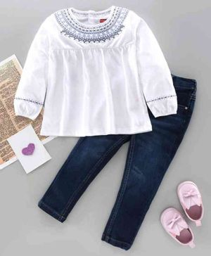 Babyhug Full Sleeves Embroidered Top and Denim Jeans Set - White Blue