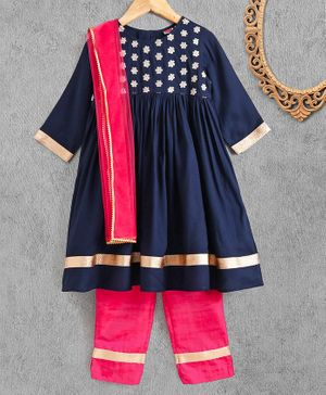 Babyhug Three Fourth Sleeves Kurta & Salwar with Dupatta Floral Embroidery - Navy Blue