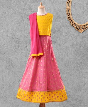 Global Desi Girl Sleeveless Printed Choli With Lehenga & Dupatta - Yellow & Pink
