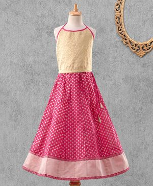 Global Desi Girl Sleeveless Self Design Choli With Lehenga & Dupatta - Pink